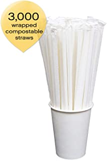 Sophistiplate Foodservice Box Of 3000 White-Wrapped Compostable Paper Drinking Straws 7.75