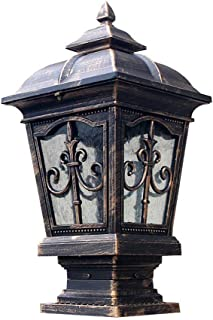 Traditional E27 Waterproof Column Headlight Villa Door Gate Garden Railing Outdoor Terrace Balcony Stone Exterior Post Lantern Lamp American Vintage Bronze Aluminum Pillar Lights