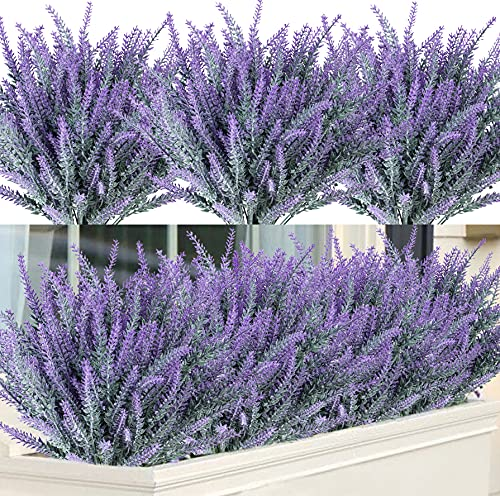 12 Bundles Fake Flowers Artificial Lavender Faux Plastic Purple Flowers for Home Wedding Kitchen Garden Patio Window Box Office Table Centerpieces Indoor Outdoor Decor (Frosted)