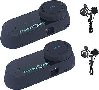 FreedConn Motorcycle Communication System, T-COMVB Helmet Bluetooth Headset Intercom for Motorbike Skiing (Range-800M/2-3Riders Pairing/Black) (2 Pack Soft Mic Cord)