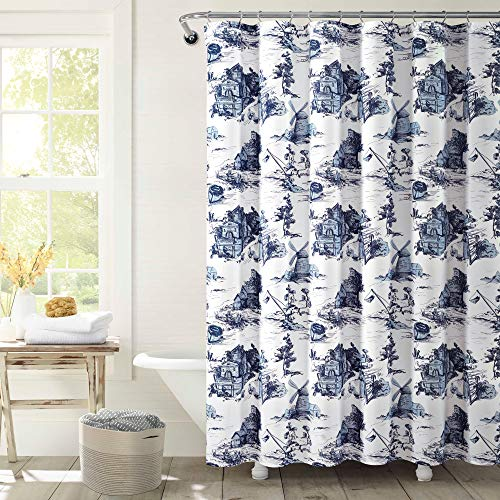 """Lush Decor French Country Toile Shower Curtain, 72"""" x 72"""", White & Blue"""