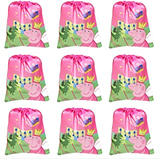 Pink Pig Party Bag,12 Pack Party Favors Bags Drawstring Backpacks Gifts Bags Birthday Party Supplies (9 Pack Pig)