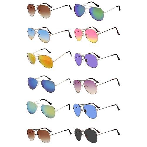 decd296e41c7 12 Pairs Classic Aviator Sunglasses Metal Gold Silver Black Colored Mirror  Lens OWL
