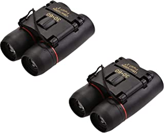 Pack of 2 30x60 Compact Binoculars Small Folding Binoculars Lightweight Pocket Folding Binoculars for Concert Theater