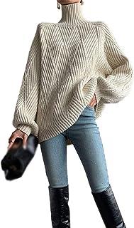 Suéter con Cuello Alto Lana para Mujer Camisa Elegante Clásico Jerséis Sudaderas Manga Larga de Otoño E Invierno