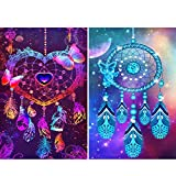 2 Pack 5D Full Drill Dream Catcher Diamond Painting Kit,EVERMARKET DIY Diamond Rhinestone Painting Kits for Adults and Beginner Embroidery Arts Craft Home Decor, 16 X 12 Inch Dream Catcher(2)