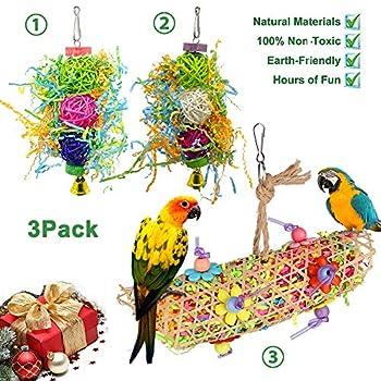 AIDIYA Lot de 3 Jouets pour Oiseaux à Suspendre avec Clochette, échelle en Bois pour perruches, calopsittes, perruches et Oiseaux (Jaune)