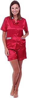 Alexander Del Rossa Womens Satin Pajamas, Short Sleeve Pj Set