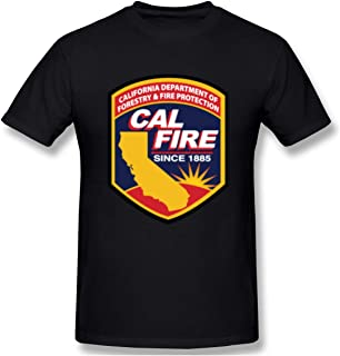 Loicwoo Men's Unique Print with Cal Fire Logo Design Casual T Shirts Short Sleeve Black