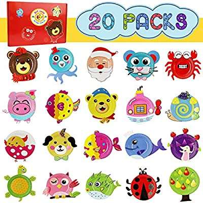Ecore Fun 20 Packs Paper Plate Art Kit for Kids DIY Creative Crafts Animal Paper Plate Sticker Perfect for Boy and Girl Craft Parties, Groups and Classroom