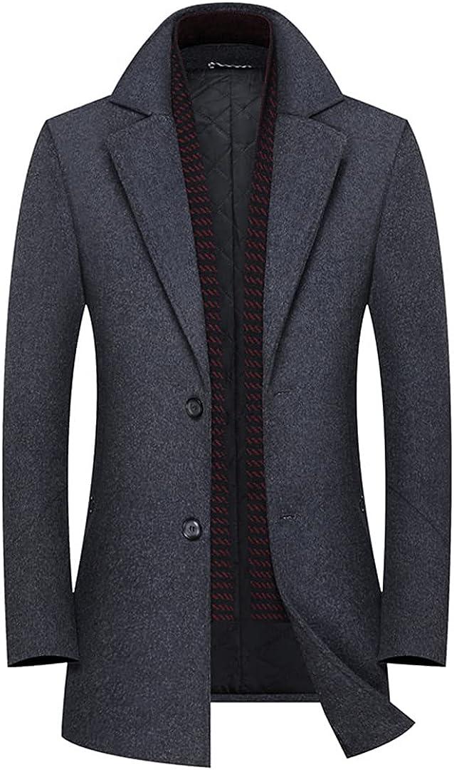 Men Long Wool Coat Thicken Trench Coat Woolen Overcoat Long Jacket Winter Smart Overcoats