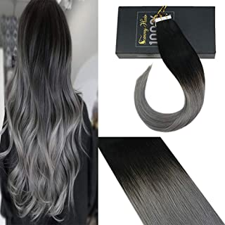Sunny 24inch Double Sided Tape in Hair Ombre Glue in Hair Extensions Natural Black Fading to Bluegrey Straight Tape in Human Hair Extensions 20pcs/50g
