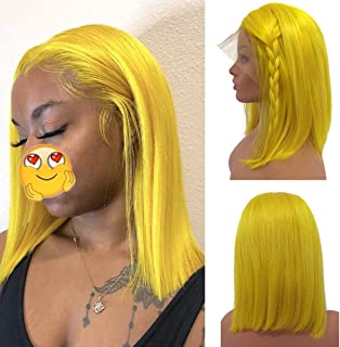 Short Yellow Bob Wig Human Hair with Baby Hairs 8 Inch Middle Part Frontal Bob Cut 180% Density Straight Glueless Lace Front Wig Pre Plucked Bleached Knots, Can be Styled