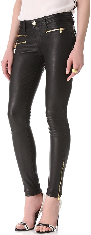 New York Womens Girls Designer Black Stretch Leather golden Zipper Pant