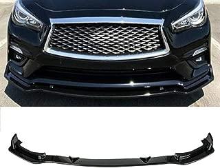 MotorFansClub 3pcs Front Bumper Lip Splitter for Infiniti Q50 Base 2018 2019 Trim Protection Splitter Spoiler, Black