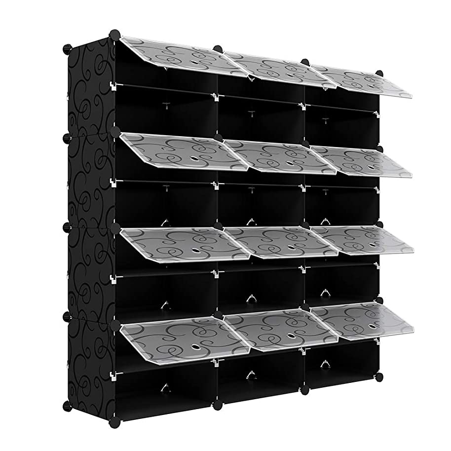 KOUSI 3 x 8-Tier Shoe Rack Shoe Tower Storage Cabinet Shoe Organizer Storage Organizer Modular Shoe Cabinet with Doors, Black