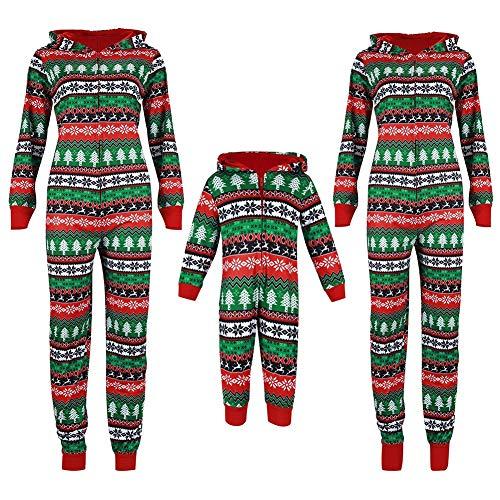 HLSUSAN Weihnachten Schlafanzug Familien Pyjama Jumpsuit Overall 1 Piece Einteiler Ganzkörperanzug Weihnachtsanzug Nachtwäsche Homewear für Damen Herren Kinder,Mum,XL