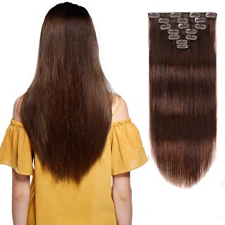 Clip In Hair Extensions Human Hair New Version Thickened Double Weft Brazilian Hair 70g 7pcs Per Set 9A Remy Hair Medium Brown Full Head Silky Straight 100% Human Hair Clip In Extensions(12 Inch #4)…