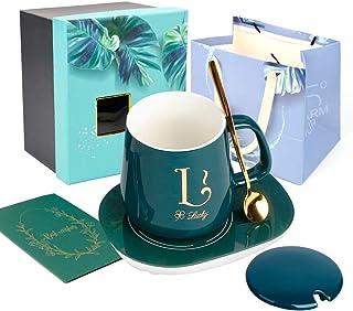 UHAPEER Ensemble Cadeau Tasse à café, Mugs porcelaine avec tampon plus chaud, couvercle en céramique, cuillère, régulateur...
