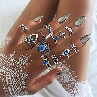 Aimimier 13 Pcs Bohemian Stackable Joint Knuckle Ring Set Vintage Blue Crystal Carved Finger Ring Crown Midi Ring Pack for...