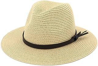 Ladies Sun Hat Panama Straw Hat Packable Wide Brim Summer Beach Hat Fedora Trilby Hat for Women UPF 50
