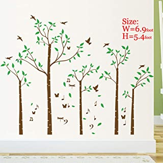 Huge Family Tree Wall Decals Wall Sticker Removable Vinyl Mural Art Wall Stickers Kids Room Nursery Bedroom Living Room Decoration (70.8Tall)(Brown)