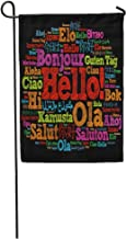 Carl McIsaacDoor Garden Flag Foreign Hello Word Cloud in Different Languages of The World Home Yard House Decor Barnner Outdoor Stand 12x18 Inches Flag
