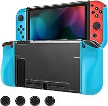 MoKo Funda Protectora Compatible con Nintendo Switch y Mando Joy, Estuche de Decoración Anti-caída/Rasguños, Caja Protectora Completa TPU Resistente con 4 Tapas de Joystick - Claro + Azul