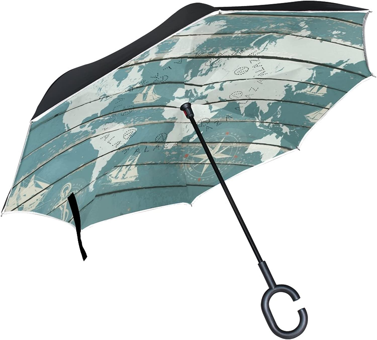 My Daily Double Layer Ingreened Umbrella Cars Reverse Umbrella World Map Anchor Compass Ship Wood Printed Windproof UV Proof Travel Outdoor Umbrella