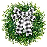 CEWOR 15 Inches Artificial Boxwood Wreath Faux Green Leaves Greenery Wreath with A Plaid Bow for Front Door Wall Window Decoration