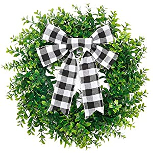 Silk Flower Arrangements CEWOR 15 Inches Artificial Boxwood Wreath Faux Green Leaves Greenery Wreath with A Plaid Bow for Front Door Wall Window Decoration