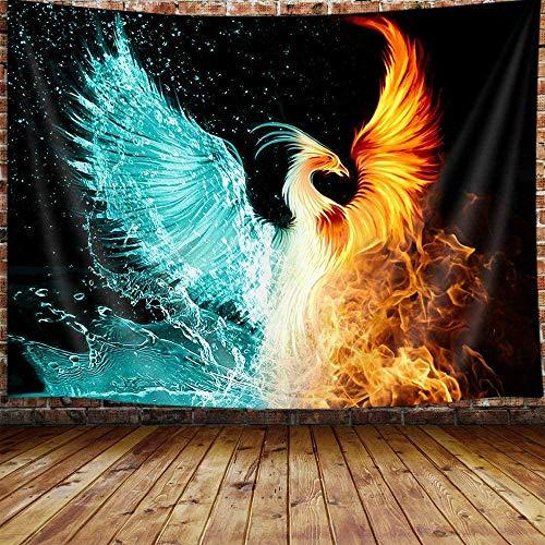 Yhjdcc Fantasy Phoenix Kleiner Wandteppich Wassereis & Feuer Steigendes Phoenix Tier Anime Wandteppich Wandbehang f¨¹r Schlafzimmer ?sthetischer Wandteppich 150cm x 200 cm