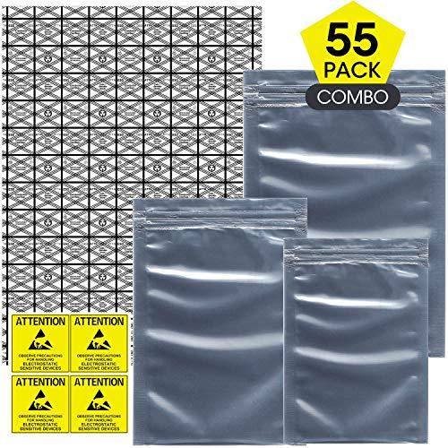 Larcenciel 55 Stück Antistatische Resealable Large Size Taschen für Motherboard HDD und elektronisches Gerät