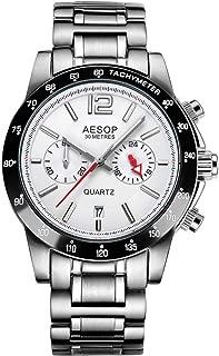 Aesop Fashion Luxury Men Date Analog Japanese Quartz Wrist Watch with Stainless Steel Band Waterproof Silver White