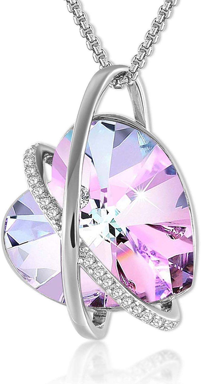 GEORGE SMITH Love Echo Collar de plata para mujer Corazón púrpura Collar de oro rosa Collar Regalos de boda Cumpleaños para mujer Chica