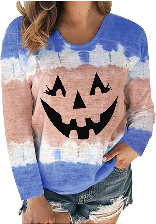 Womens Tops Long Sleeve Halloween Graphic Sweatshirts Casual Pullover Hoodie Oversized