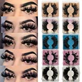25MM Mink Eyelashes Wholesale Ninglash 10 Pack False Eyelashes, Dramatic Real Mink EyeLashes, Thick HandMade Full Strip Lashes, Crueltyl Free Fluffy Lash, 3D Mink Lashes Bulk