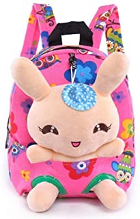 Little-Sweet Rabbit Backpack Cute Kids Toddler Backpack Plush Toy Backpack Snack Travel Bag Pre-School Bags for Girls 1-5Years (Pink)