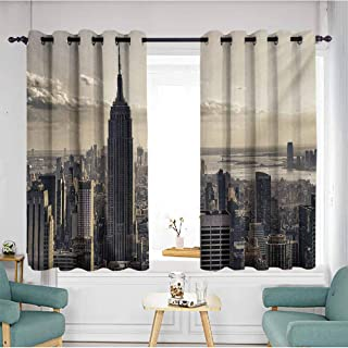AndyTours Custom Curtains,New York Aerial View of NYC in Winter American Architecture Historical Popular Metropolis,Curtains for Living Room,W72x45L,Beige Grey