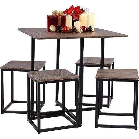 MEUBLE COSY Ensembles de Meubles de Salle à Manger Carré Moderne Table avec 4 Scandinave Chaises