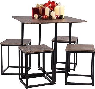Ensembles de Meubles de Salle à Manger Carré Moderne Table avec 4 Scandinave Chaises