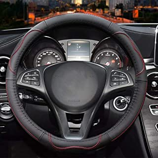 Universal 15 inch Microfiber Leather Auto Car Steering Wheel Cover, Black and Red