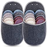 ONVAYA Juego de 2 zapatillas de casa para invitados | pantuflas | fieltro | 11 piezas | gris | set ahorro