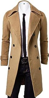 OCHENTA Men's Double Breasted Turn Down Collar Slim Woolen Overcoat