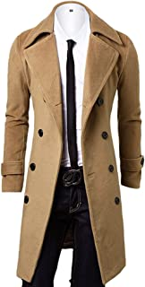 OCHENTA Men's Double Breasted Turn Down Collar Slim Woolen Overcoat