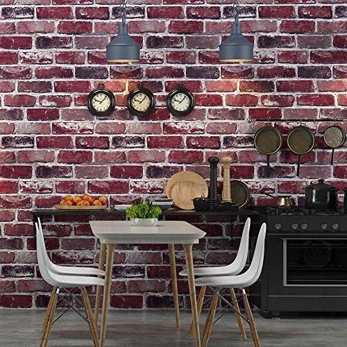 Okydoky Vintage Removable Textured Red Brick Wallpaper, Livingroom Bedroom Kitchen Background No.57102