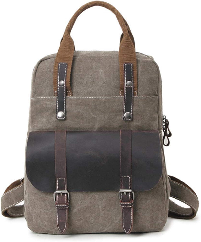FELICIOO Büro Britischen Retro Stil Rucksack Handtasche Lässig Business Aktentasche Schulter Messenger Crossbody Satchel Tote Bag (Farbe   Khaki) B07KZX9BPR