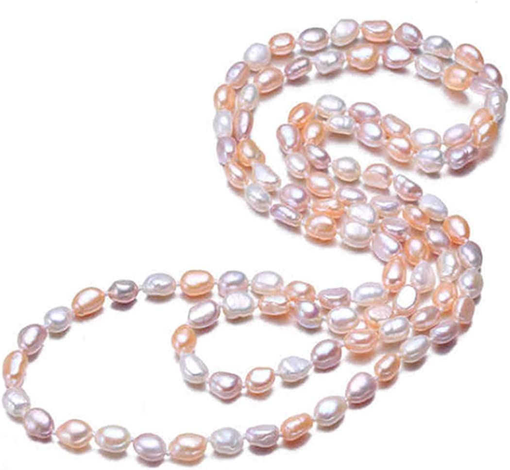 TreasureBay Womens Four-In-One Multi Coloured 8-9Mm Natural Freshwater Pearl Necklace 110Cm Long - Presented In A Beautiful Jewellery Gift Box (Multi-Colour 4)