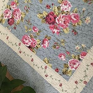 Ustide Rustic Rose Fiori Area Carpet, Home Decor Cotone Rose Rosa Modello Bedroom Floor Rugs, Unico Trapuntato Antiscivolo Lavabile Tappeto da Bagno, 2x 4, 100% Cotone, Blue 19.6''X53'', 50 x 135 cm
