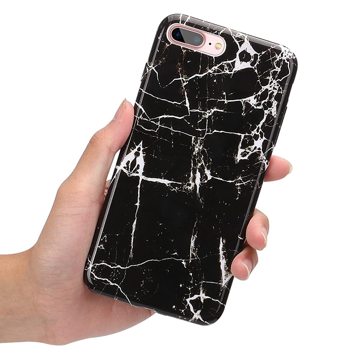 iPhone 8 Plus Case, iPhone 7 Plus Case, KAMII Marble Series Slim Fit Anti-Scratch Soft TPU Rubber Silicone Flexible Thin Back Protective Case for Apple iPhone 7 Plus/8 Plus (5.5inch) (Black)